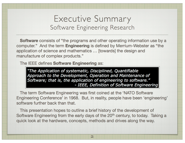 brief history of software engineering Foundations of software engineering: course location course time topics what's new (home) an early history of software engineering by robert l glass.